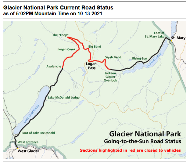 Going-to-the-Sun Road GNP Oct. 13, 2021