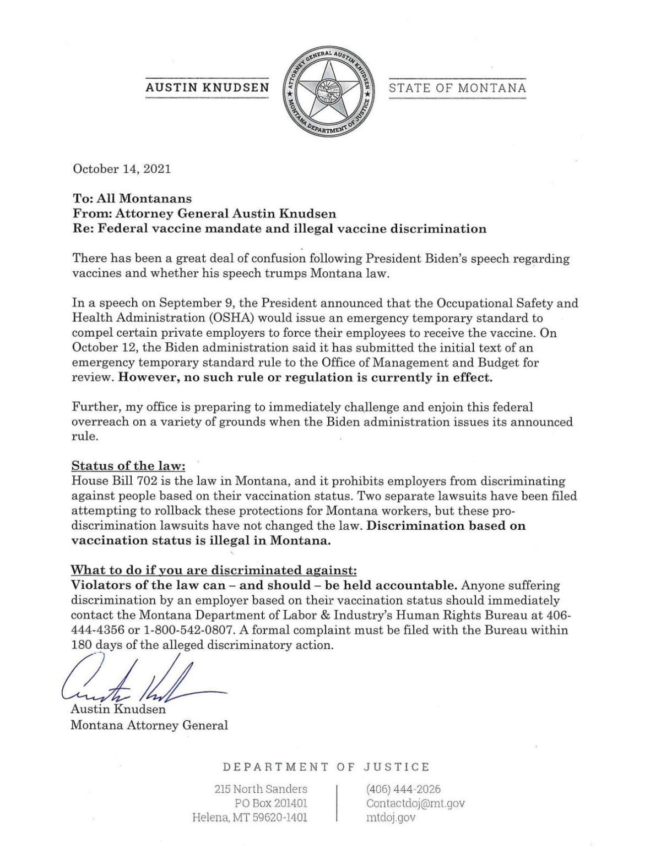 AG's legal guidance on vaccine mandate