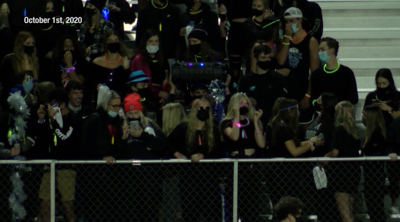 Students in stands of game