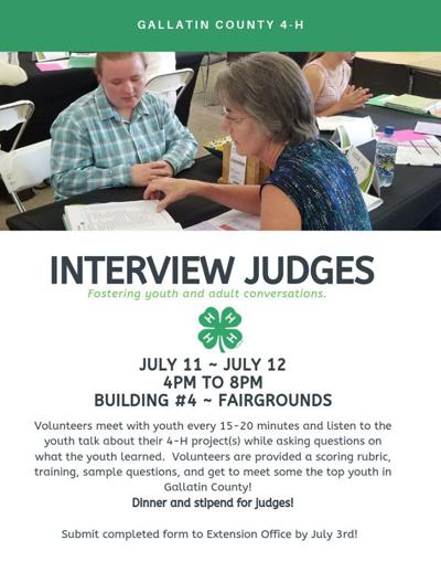 The Gallatin County 4-H is looking for judges for the Big Sky Country State Fair
