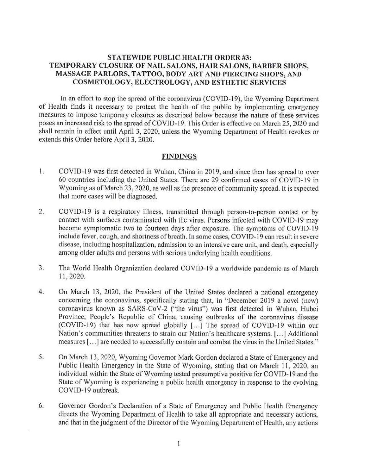 Wyoming Statewide Health Order #3