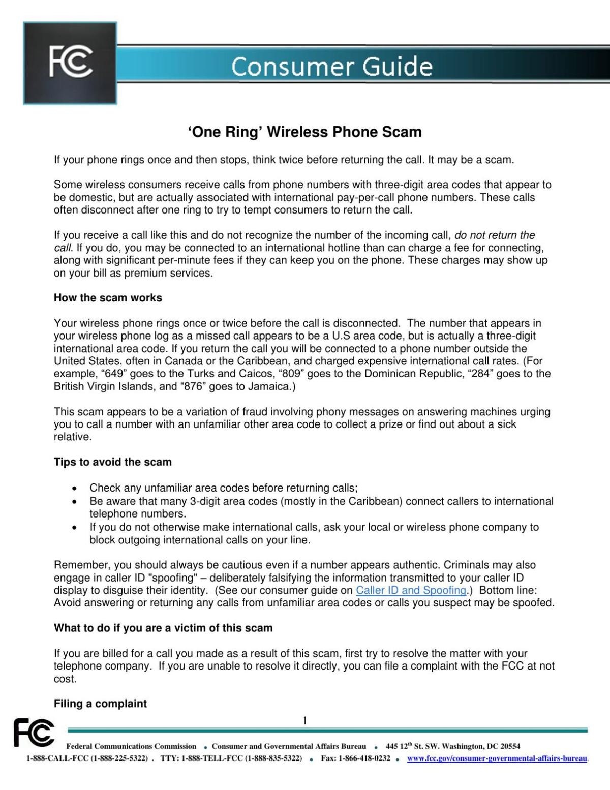'One Ring' Wireless Phone Scam