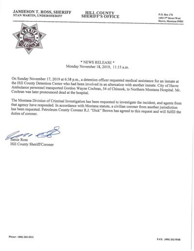 News release on inmate death