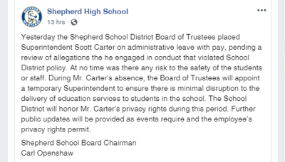Shepherd School District's superintendent, Scott Carter, placed on administrative leave