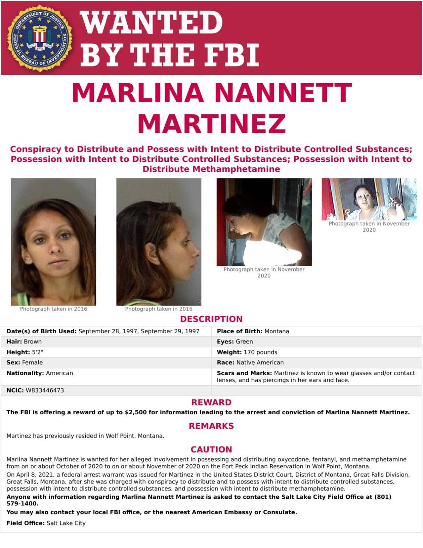Marlina Nannett Martinez FBI wanted poster