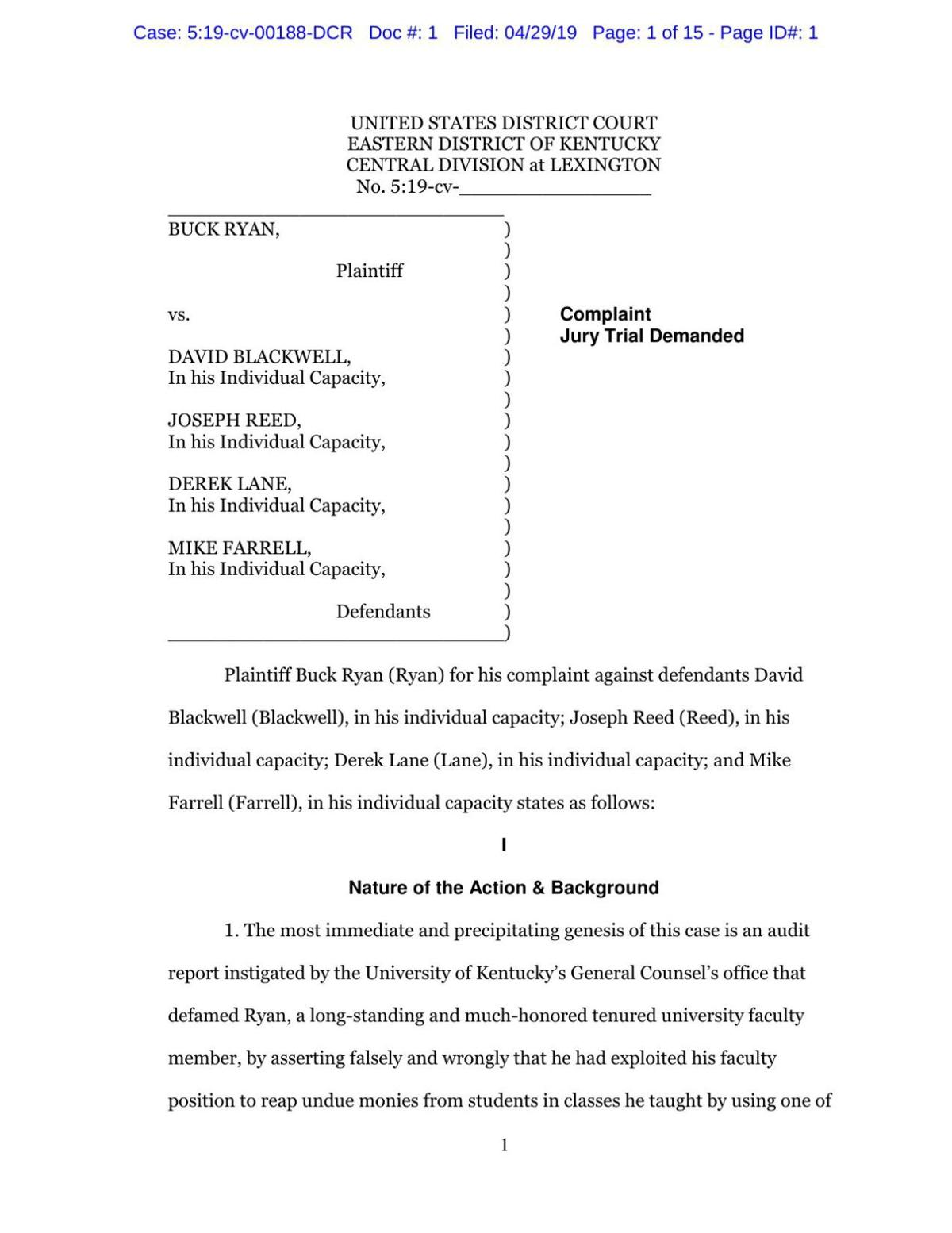 Buck Ryan Lawsuit