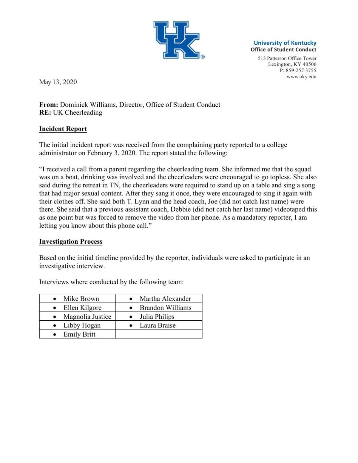Annotated Student Conduct Report
