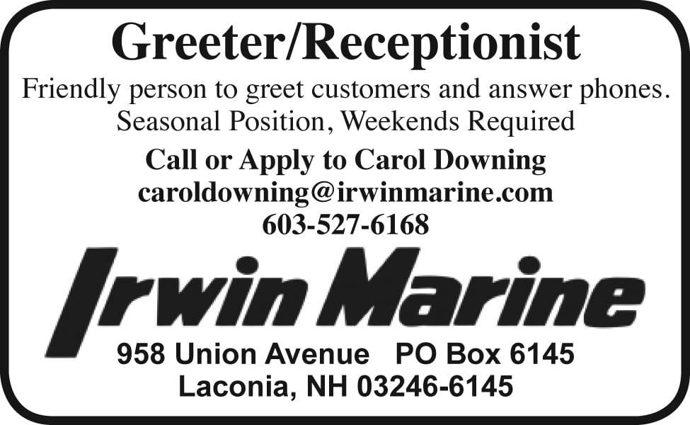 GREETER/Receptionist - Irwin Marine