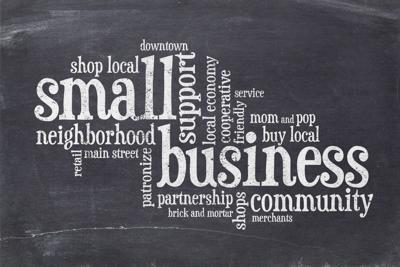 small business concept on balckboard