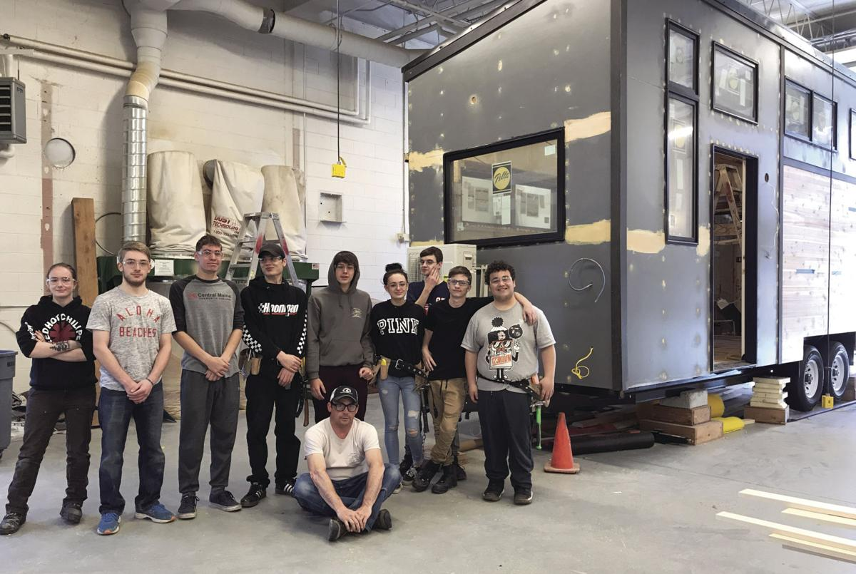 Tiny house construction students