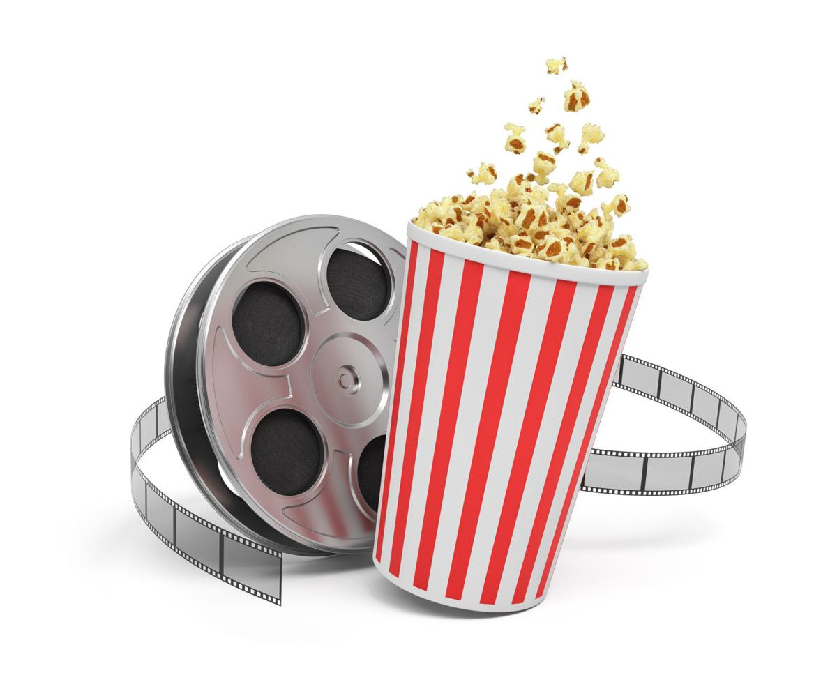 3d rendering of a video reel with video film stretching around a big bucket full of popcorn