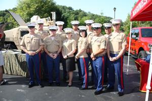 Marines of Recruiting Station St. Louis with Commanding Officer Major Nicole Bastian