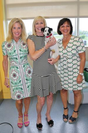 Judy Calhoun, Pam Nicholson, Harika Fava, co-chairs with Pebbles up for adoption