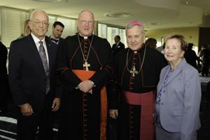 Joe Shaughnessy, Cardinal Timothy Dolan, Archbishop Robert Carlson and Rose Mary Shaughnessy