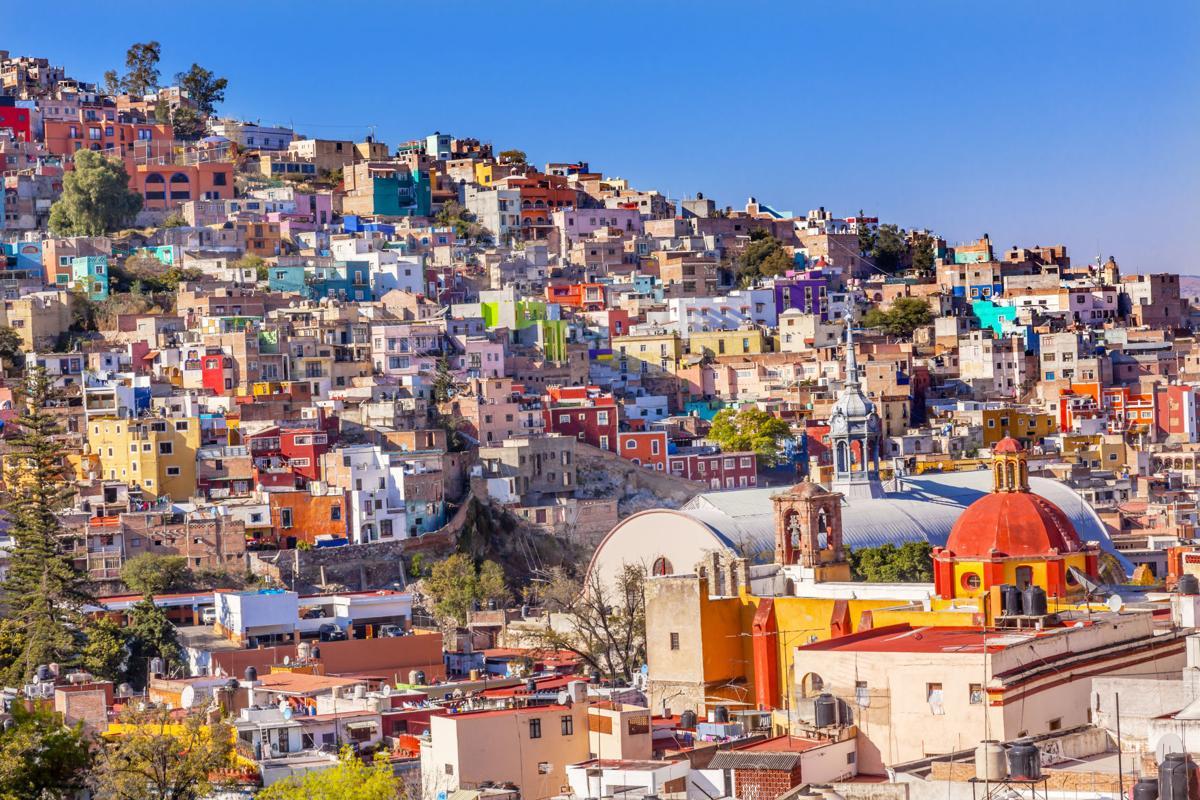 Colored Houses Iglesia de San Roque Market Guanajuato Mexico