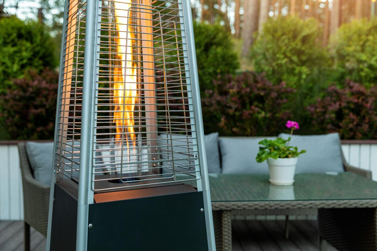outdoor gas pyramid heater working on terrace