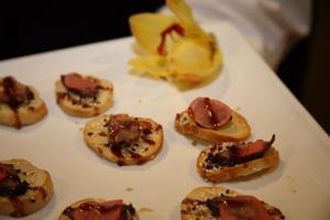 Tamrin Beef with Picked Radish on a crustini