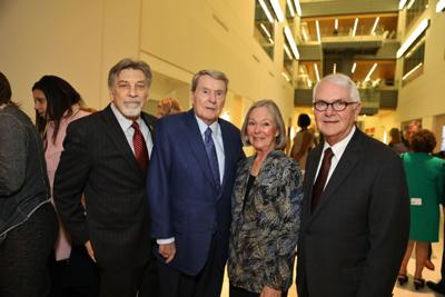 co-chair Tom Eschen, Lifetime Achievement Honoree Jim Lehrer, Honorary Committee Carol and Tom Voss