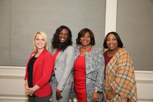 Laura Crosby, Tamckia Juszczyk, Dr. Nina Caldwell, Luncheon chair, Sandra Hunter