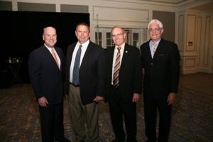 John Nations, Florissant Chief Tim Lowery, Florissant Mayor Tom Schneider, John Beck from Emis Radio