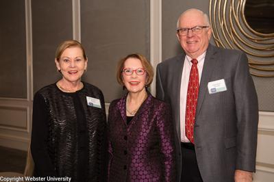 3.5.21 Marianne Gleich, Webster University Chancellor Elizabetrh Stroble, Peter Gleich at Webster Society Dinner.jpg