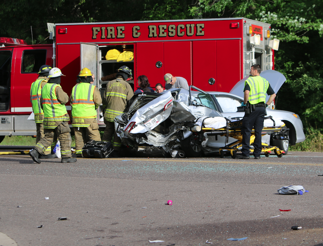 One seriously injured in chain-reaction crash