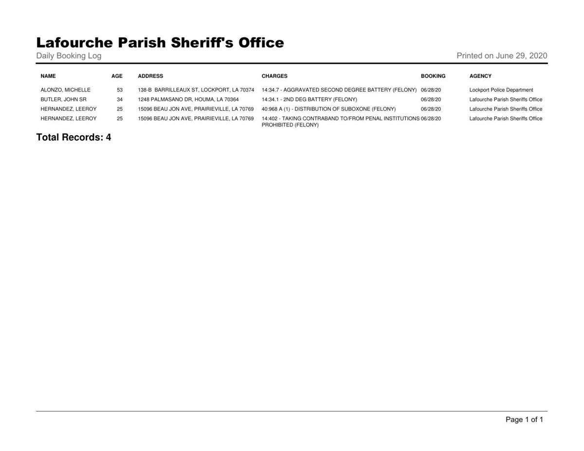 Lafourche Booking Log - June 28, 2020