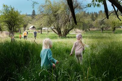 Children playing in field May