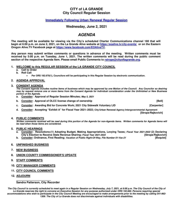 La Grande City Council budget meeting June 2, 2021
