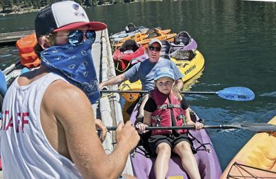 Paddling away on Wallowa Lake