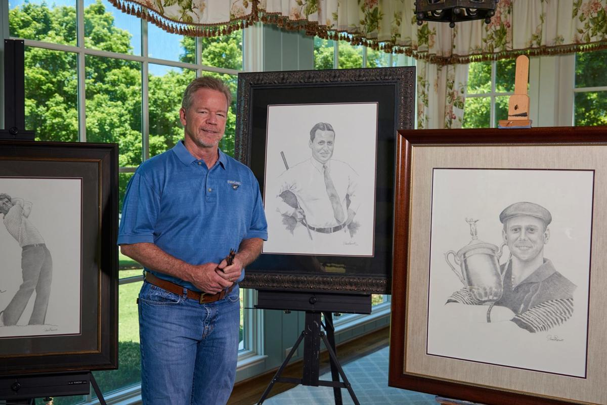Pursell Farms CEO David Pursell with fine art pencil drawings of famed golfers.jpg
