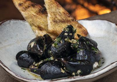 Tara's Steamed Mussels, Grilled Bread and Buttery Broth