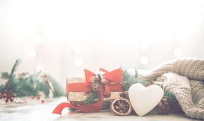 festive background with heart and gift, christmas and holiday concept