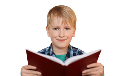 A portrait of handsome little boy with fair hair and blue eyes holding a book in his hands while standing over white background having happy expression looking directly into camera.Education concept.
