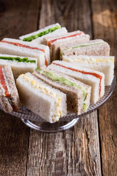 Ribbon sandwiches on cake stand