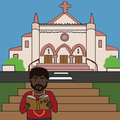 Kanye reading infront of Sacred Heart Chapel