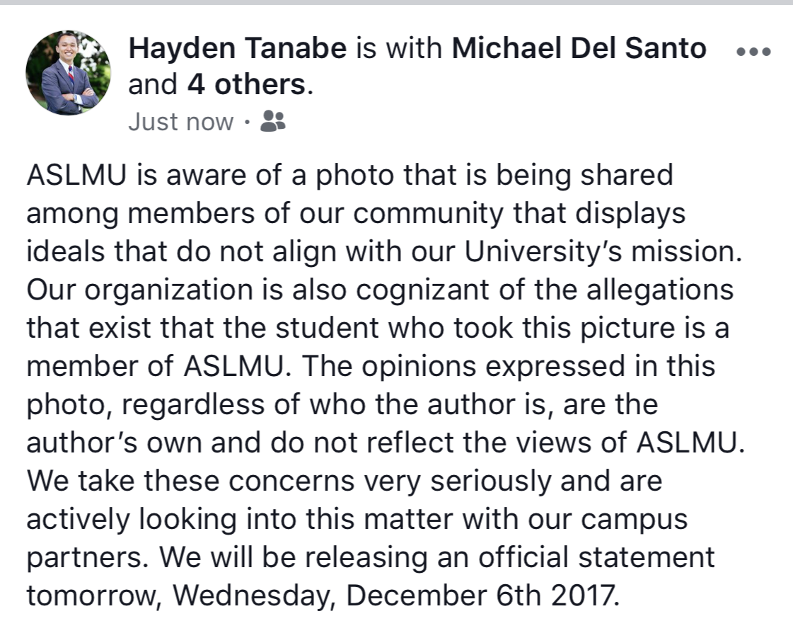 ASLMU President Hayden Tanabe's FB post