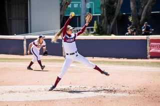 Senior pitcher Hannah Bandimere shouldered the load of the pitching staff, pitching in every game of the weekend series against BYU.