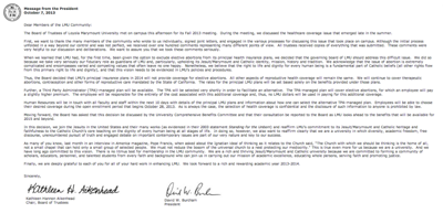 Full letter from University President and Board of Trustees Chair