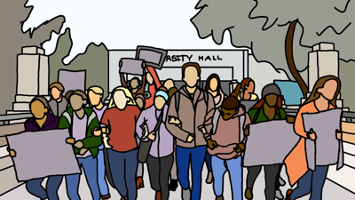 Students protesting outside UHall cartoon
