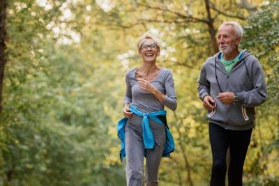 people walking exercising