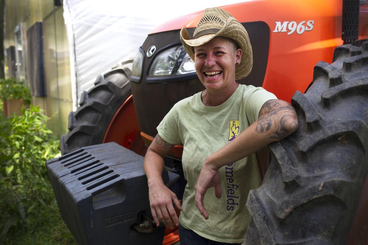 Lead farm hand Kelly Morris
