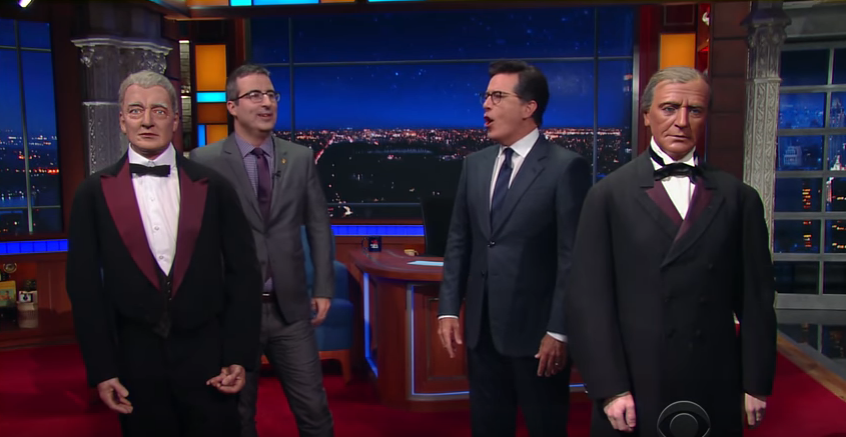 See Stephen Colbert Drink Vodka, Joke About Trump on Russian TV Show