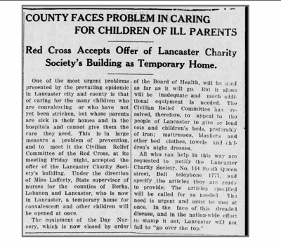 Lancaster Examiner - Flu of 1918 Lancaster Day Nursery