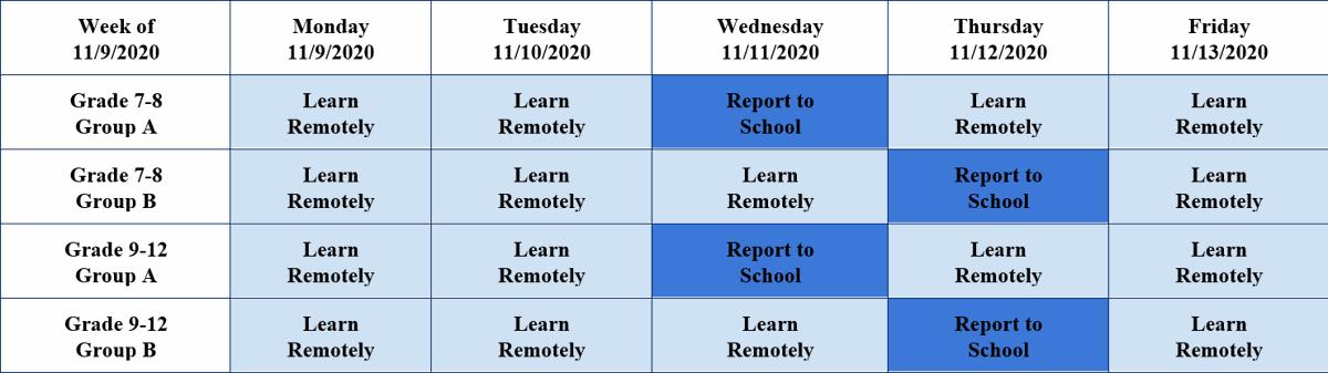 Manheim Township schedule 11/9-11/13