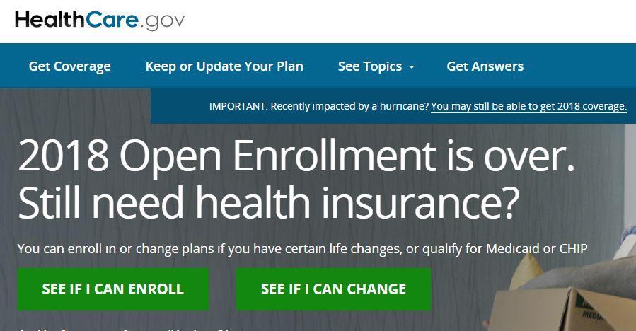 healthcare.gov home page as of Dec. 22, 2017