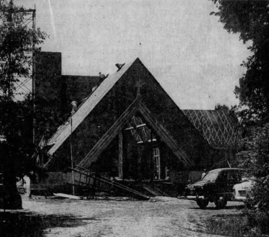 Monastery under construction, 1954