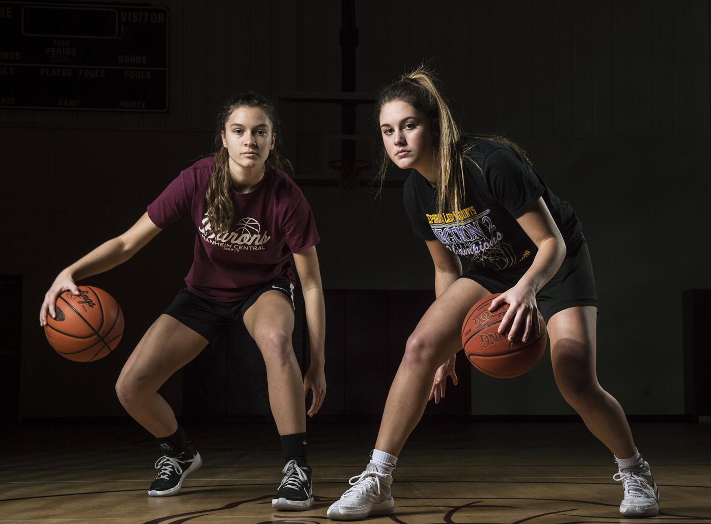 Manheim Central's Maddie Knier, and Ephrata's Jasmine Griffin-LL Girls Basketball