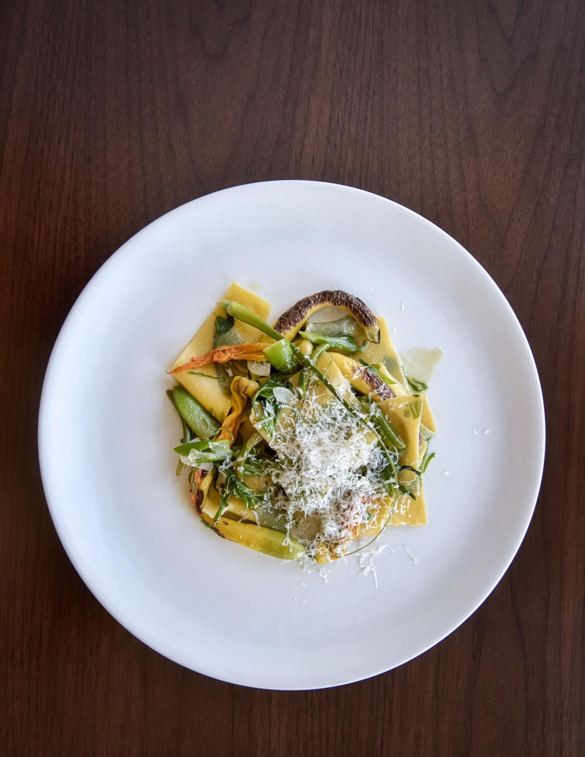 Herb inlay pasta with summer vegetables