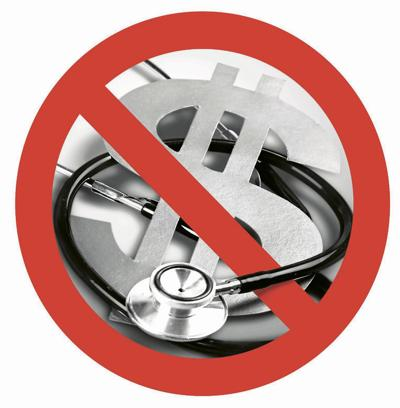 Stethoscope and dollar sign on gray background